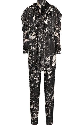 LANVIN Pussy-bow printed silk jumpsuit