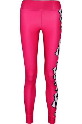 ADIDAS by STELLA McCARTNEY Printed color-block Climalite stretch leggings