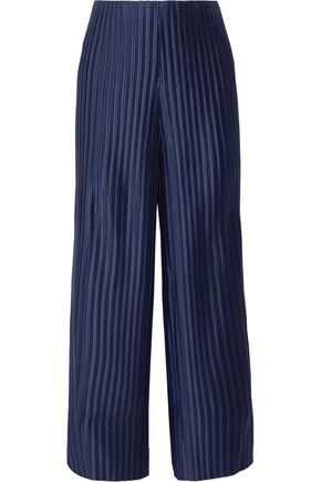 SOLACE LONDON Bonnie cropped plissé-satin wide-leg pants