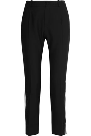 BOUCHRA JARRAR Satin-trimmed canvas straight-leg pants