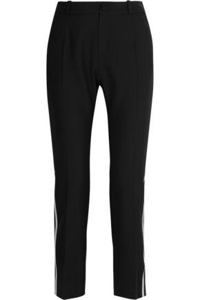 BOUCHRA JARRAR Satin-trimmed canvas straight-leg pants