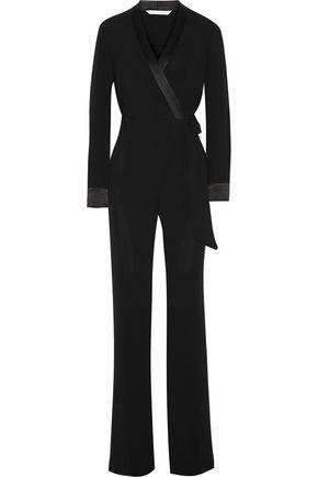 DIANE VON FURSTENBERG Margot satin-trimmed crepe wrap jumpsuit