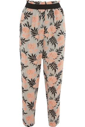 GANNI Printed chiffon tapered pants