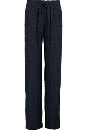 CHLOÉ Silk-blend cloqué straight-leg pants