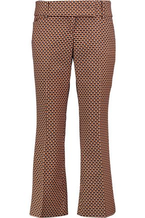 MICHAEL KORS COLLECTION Cropped printed virgin wool and silk-blend bootcut pants