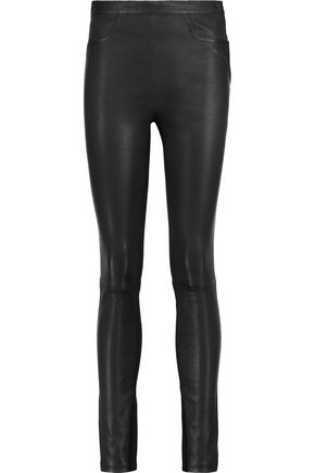 MAJE Paneled leather and stretch-cady skinny pants