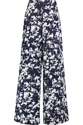 ALEXIS Printed twill wide-leg pants