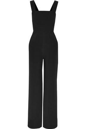 ALEXIS Button-embellished cady jumpsuit
