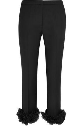 VICTORIA, VICTORIA BECKHAM Floral-appliquéd wool-crepe straight-leg pants