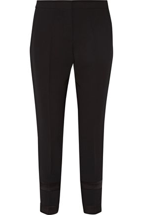 VICTORIA, VICTORIA BECKHAM Satin-trimmed crepe tapered pants