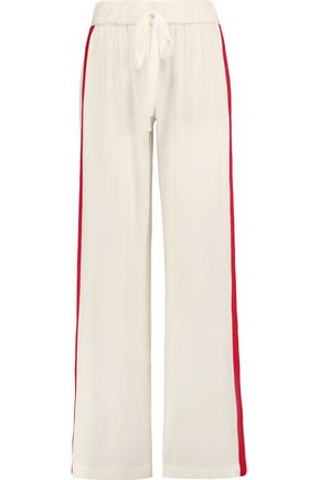 ALEXIS Zanini embroidered-trimmed crepe wide-leg pants