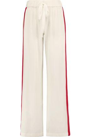 ALEXIS Stripe-trimmed satin straight-leg pants