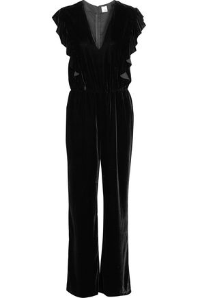 IRIS AND INK Ruffle-trimmed velvet jumpsuit