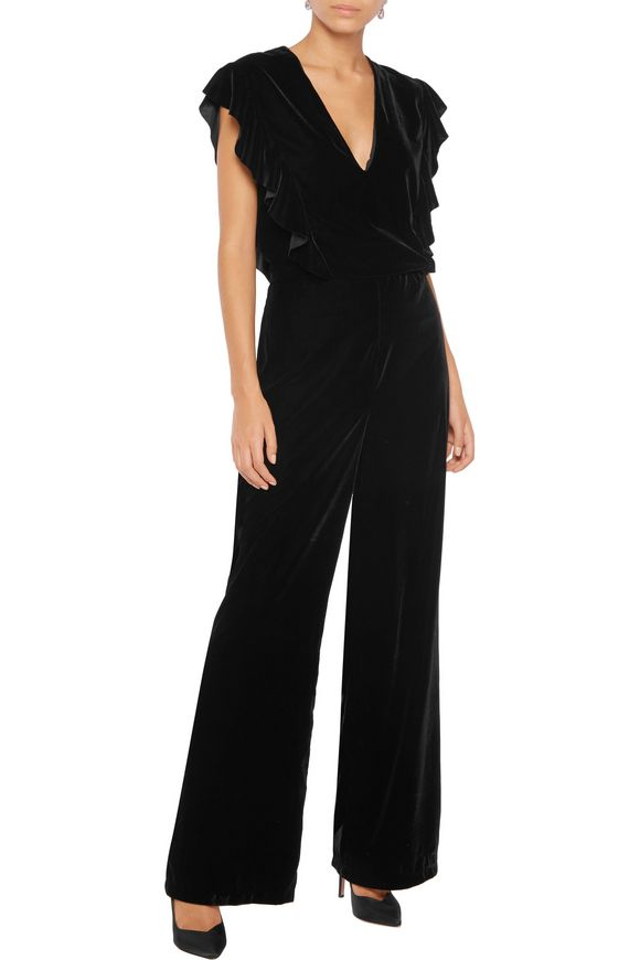 Ruffle-trimmed velvet jumpsuit | IRIS & INK | Sale up to 70% off | THE  OUTNET