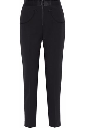 ALEXANDER WANG Satin-trimmed cady slim-leg pants