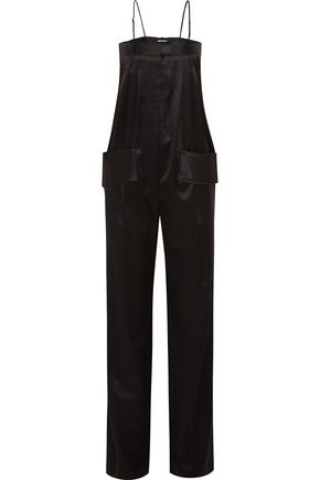 GIVENCHY Silk-satin jumpsuit with leather straps