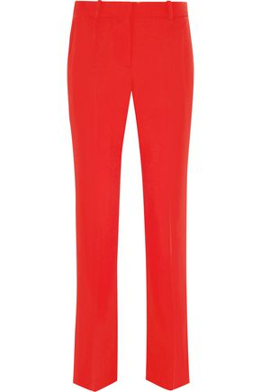 GIVENCHY Cropped straight-leg pants in red grain de poudre wool