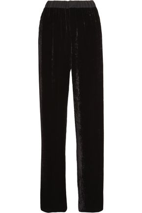 FENDI Chiffon-trimmed velvet wide-leg pants