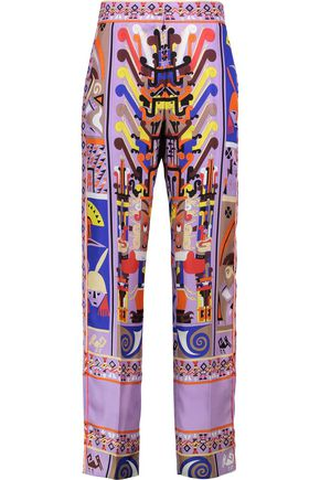 EMILIO PUCCI Printed silk-satin straight-leg pants