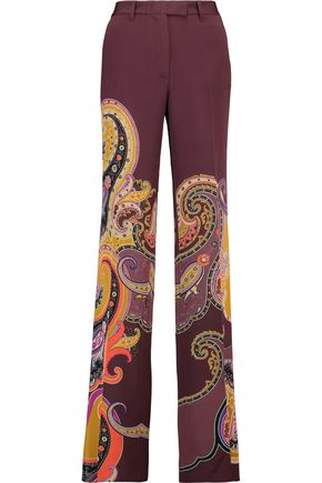 ETRO Printed silk-blend straight-leg pants