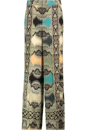 ETRO Printed silk-crepe wide-leg pants