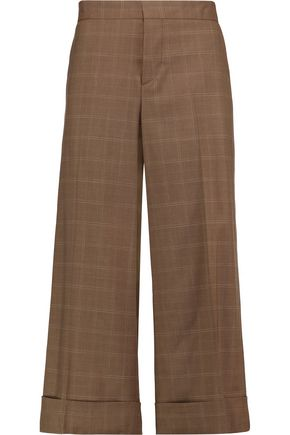 MARNI Checked wool-crepe culottes