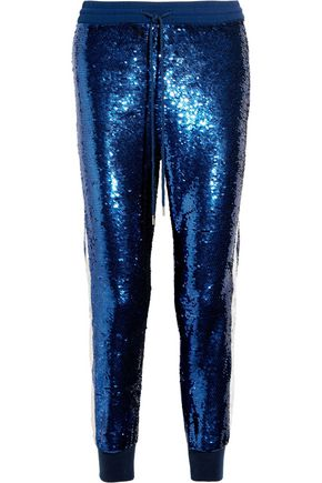 ASHISH Lace-trimmed sequined silk-georgette track pants