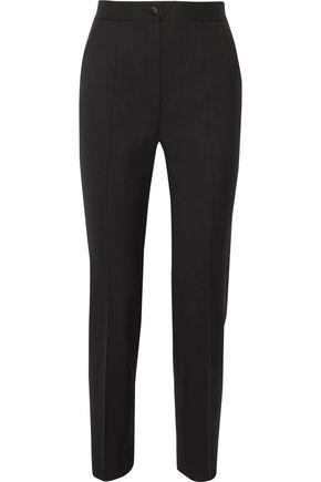 DOLCE & GABBANA Satin-trimmed stretch wool-blend straight-leg pants