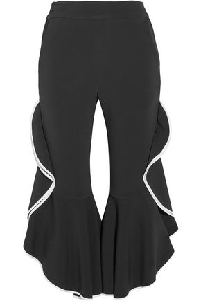 JONATHAN SIMKHAI Cropped ruffled crepe flared pants