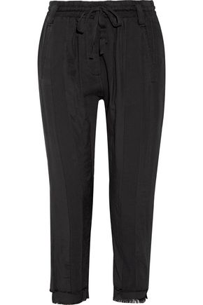 HAIDER ACKERMANN Frayed cotton-twill track pants