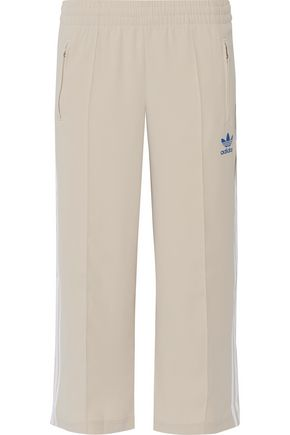 ADIDAS ORIGINALS Sailor cropped appliquéd crepe wide-leg pants