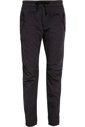 JAMES PERSE Cotton and silk-blend poplin tapered pants