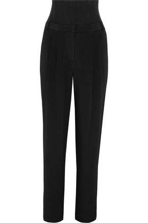 TIBI Mesh-paneled silk wide-leg pants