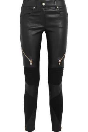 GIVENCHY Leather and stretch-knit skinny pants