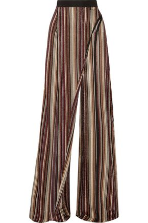 BALMAIN Metallic stretch-knit wide-leg pants