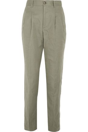 A.P.C. Lena cotton and linen-blend tapered pants