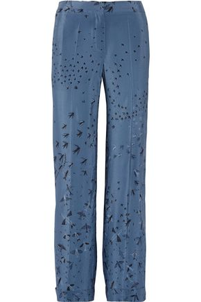 VALENTINO Swallow Metamorphosis printed silk crepe de chine wide-leg pants
