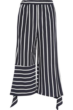 GOEN.J Cropped striped cotton-blend jersey pants