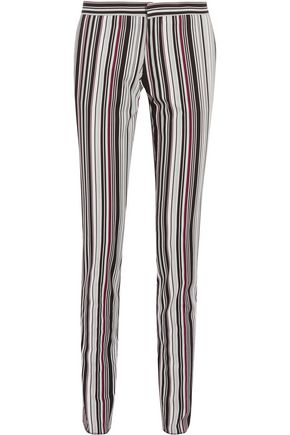 GIAMBATTISTA VALLI Striped cotton-blend twill slim-leg pants