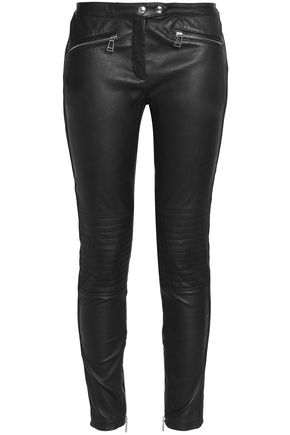 BELSTAFF Paneled leather and stretch-twill skinny pants