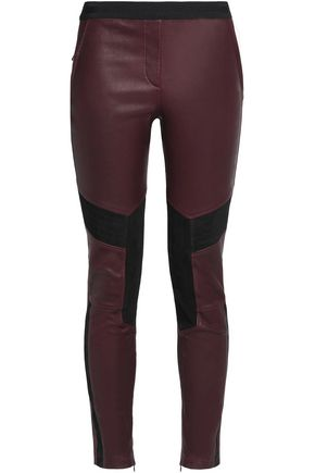BELSTAFF Aberford suede-paneled leather leggings