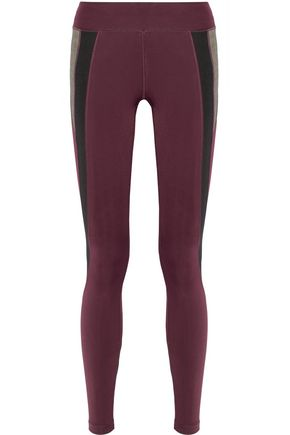PURITY ACTIVE Color-block mesh-paneled stretch leggings