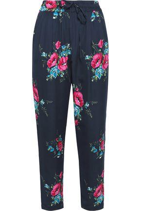 JOIE Floral-print silk slim-leg pants