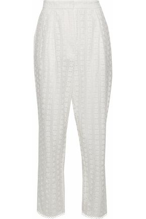 ZIMMERMANN Embroidered cotton and silk-blend tapered pants