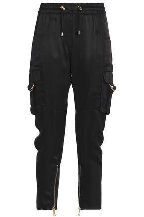 BALMAIN Cropped satin slim-leg pants