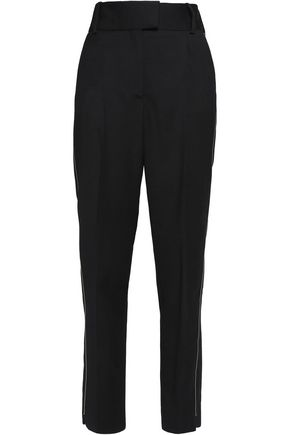 MAJE Parison embellished wool straight-leg pants