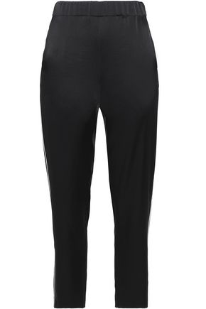 MAJE Twill-trimmed satin slim-leg pants