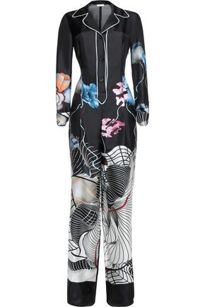 VIONNET Printed silk-satin jumpsuit