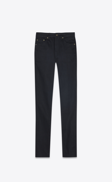 SAINT LAURENT Skinny fit Woman Mid-rise skinny jeans in black stretch denim a_V4