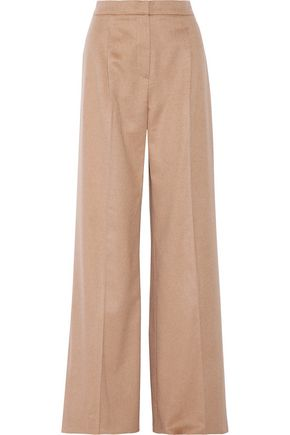 MAX MARA Pleated camel-felt wide-leg pants